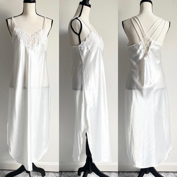 Vintage Dentelle Embroidered Maxi Dress Ivory Medium